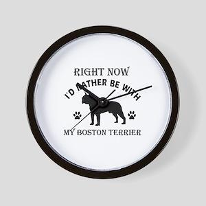 Boston Terrier Dog Breed Designs Wall Clock