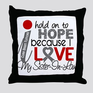 I Hold On To Hope Brain Tumor Throw Pillow