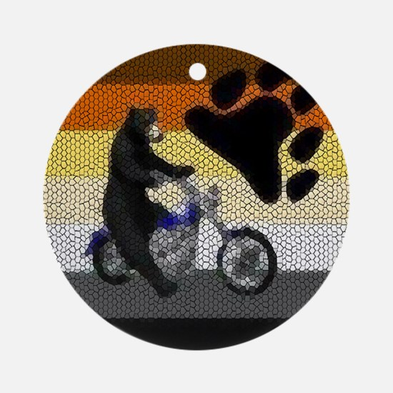 `MOTORCYCLE BEAR PRIDE Ornament (Round)