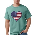 American Flag Heart Mens Comfort Color T-Shirts