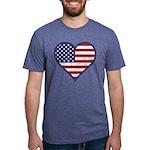 American Flag Heart Mens Tri-blend T-Shirts