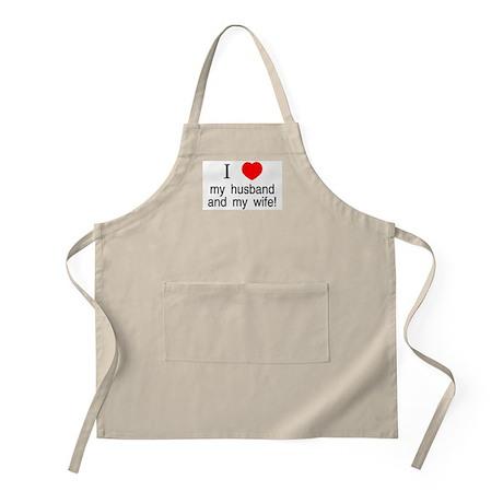 I <3 my husband & my wife BBQ Apron