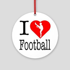 I Love Football Ornament (Round)