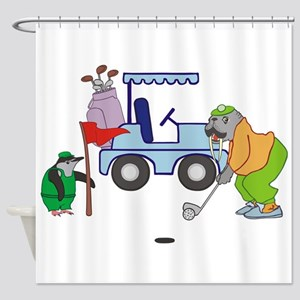 Playing Golf Shower Curtain