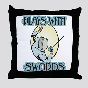 Plays with Swords Throw Pillow