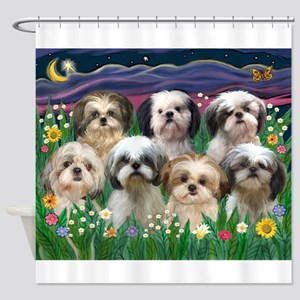 7 Shih Tzus in Moonlight Shower Curtain