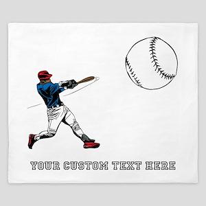 Baseball Player with Custom T King Duvet