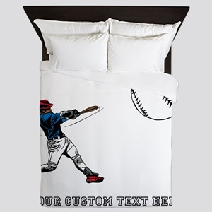 Baseball Player with Custom T Queen Duvet
