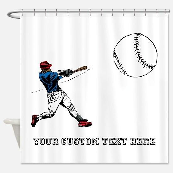 Baseball Player with Custom T Shower Curtain