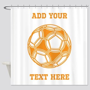Soccer Ball. Orange with Text Shower Curtain