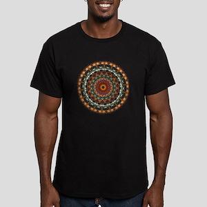 Detailed Orange Earth Mandala Men's Fitted T-Shirt