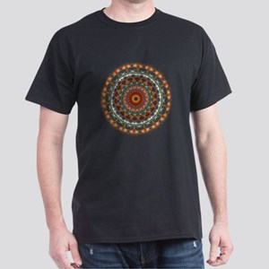 Detailed Orange Earth Mandala Dark T-Shirt