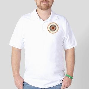 Detailed Orange Earth Mandala Golf Shirt