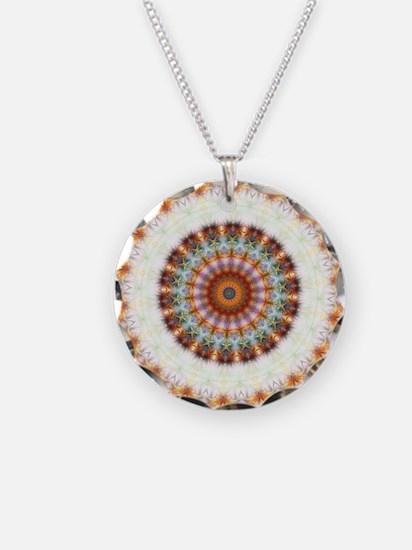 Detailed Orange Earth Mandala Necklace