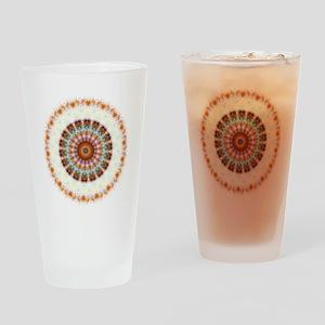 Detailed Orange Earth Mandala Drinking Glass