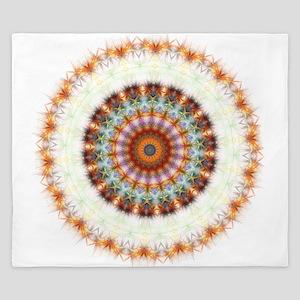 Detailed Orange Earth Mandala King Duvet