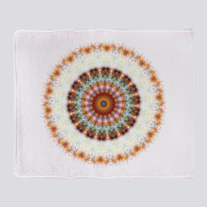 Detailed Orange Earth Mandala Throw Blanket