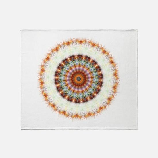Detailed Orange Earth Mandala Throw Blanket