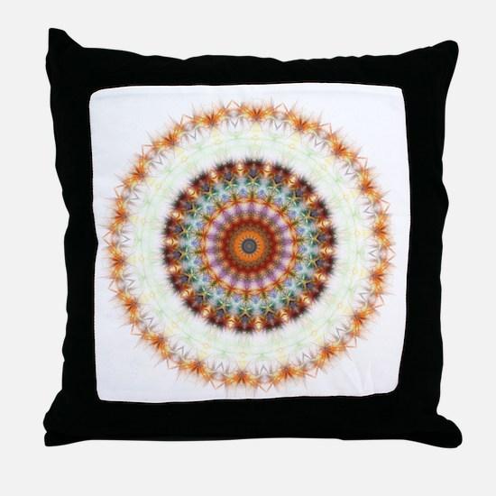 Detailed Orange Earth Mandala Throw Pillow