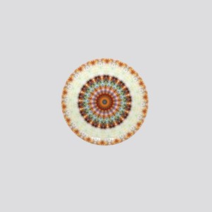Detailed Orange Earth Mandala Mini Button