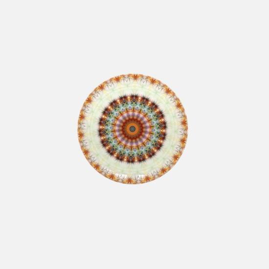 Detailed Orange Earth Mandala Mini Button