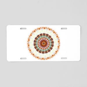 Detailed Orange Earth Mandala Aluminum License Pla