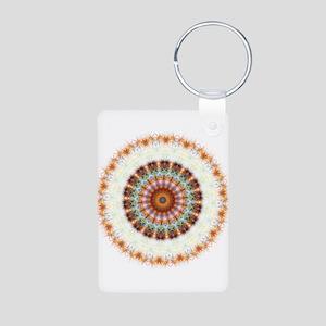 Detailed Orange Earth Mandala Aluminum Photo Keych