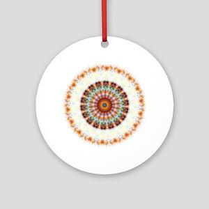 Detailed Orange Earth Mandala Ornament (Round)