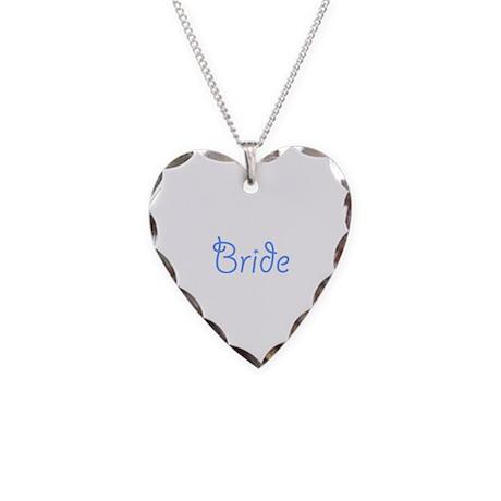 Bride Blue Text #3 - Necklace Heart Charm