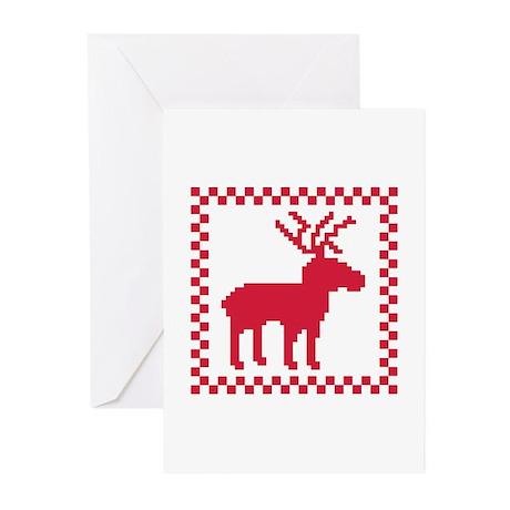 Norwegian reindeer pattern Greeting Cards (Pk of 2