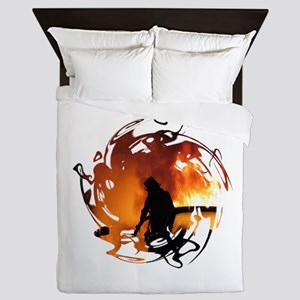 Firefighter Circle of Flames Queen Duvet