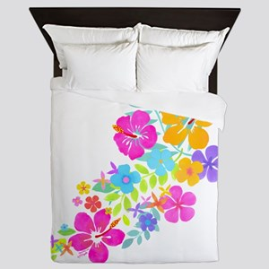 Tropical Flowers Queen Duvet