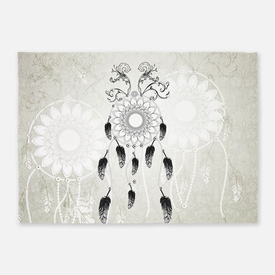Dreamcatcher in black and white on vintage backgro