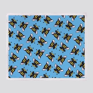 Pug Bees Blue Throw Blanket
