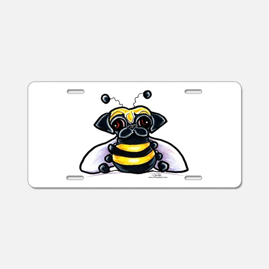 Cute Pug Bee Aluminum License Plate