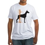 Grunge Doberman Silhouette Fitted T-Shirt