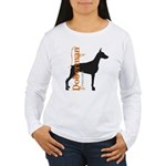 Grunge Doberman Silhouette Women's Long Sleeve T-S