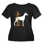Grunge Doberman Silhouette Women's Plus Size Scoop