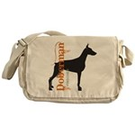 Grunge Doberman Silhouette Messenger Bag