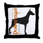 Grunge Doberman Silhouette Throw Pillow