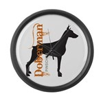 Grunge Doberman Silhouette Large Wall Clock