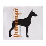 Grunge Doberman Silhouette Throw Blanket