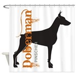 Grunge Doberman Silhouette Shower Curtain