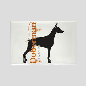 Grunge Doberman Silhouette Rectangle Magnet