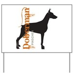 Grunge Doberman Silhouette Yard Sign