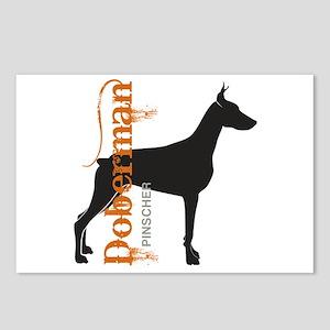 Grunge Doberman Silhouette Postcards (Package of 8