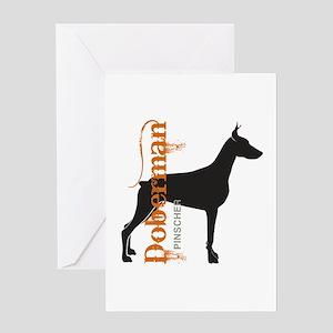Grunge Doberman Silhouette Greeting Card