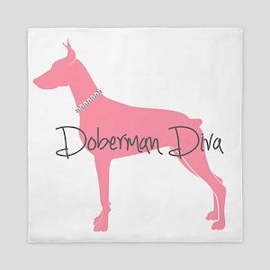Diamonds Doberman Diva Queen Duvet