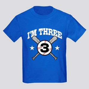 Cute 3 Year Old Baseball Kids Dark T-Shirt