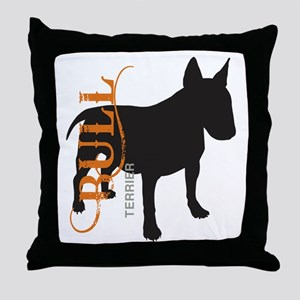 Grunge Bull Terrier Silhouette Throw Pillow